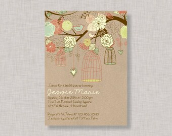 Birdcage Invitation, Bridal Shower, Baby Shower, Birthday, Printable