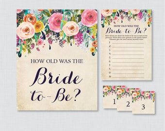 How Old Was the Bride To Be Game - Printable Floral Bridal Shower Game - Guess the Bride's Age, How Old Was She - Shabby Chic Garden 0002-A