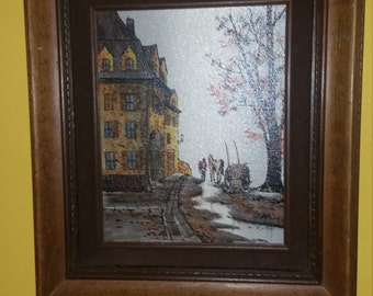 L. Ryan Artist signed Original on Canvas, Beautiful colors,House, Horse, 1970's 16x14 framed.