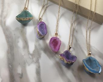Quartz Druzy Necklaces - Geode Necklaces - Druzy Geode Necklace