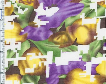 Purple/Gold Abstract Floral Novelty Chiffon, Fabric By The Yard