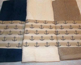 Nautical Anchors Hand Guest Towels Tan Navy Anchors Nautical Beach Ocean Hand Towels Pick your Colors Bath Towel and Washcloth Available