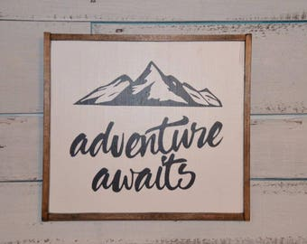Adventure Awaits Customized Hand-Painted Wood Sign