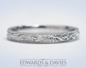 Hand Engraved White Gold Wedding Band Ring | Antique Style Wedding Ring | Stacking Ring | Antique Engraved Ring | Wedding Ring |Promise Ring