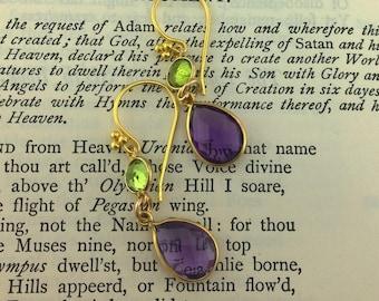 Peridot and Amethyst Teardrop Earrings Handgrafted in Golden Vermeil