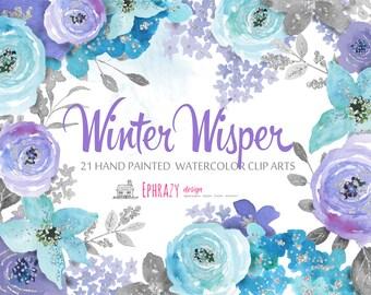 Watercolor clipart. Floral clipart. Watercolor flowers. Flower clipart. Winter flowers.Watercolour clipart. Flower wreath.