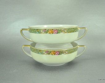 Bohemia Czechoslavkia Soup Bowls Vintage  TK Thun Double Handled Floral Border Set of 2