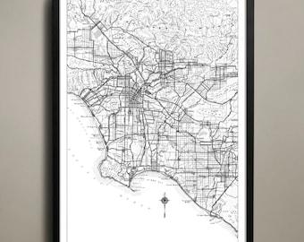 Los Angeles City Map - Los Angeles City Poster - LA City Print - Los Angeles Map - Los Angeles Map Print - LA Poster - Map of LA City