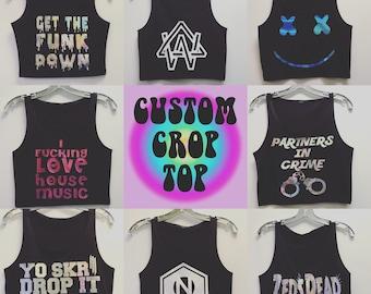 Custom Holographic EDM Rave Crop Top  - SLAPQUEEN.COM