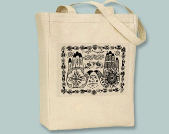 Beautiful Mehndi Henna Hands illustration on Natural or Black Tote - Selection of sizes and in ANY color