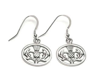 Scottish Thistle Earrings Sterling Silver Dangle Style Iconic Symbol of Scotland Boxed