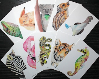 Watercolor Animal Postcards (Set of 10)