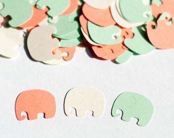 Elephant Baby Shower Decoration -  Elephant Confetti - Mint and Coral Baby Shower Decorations