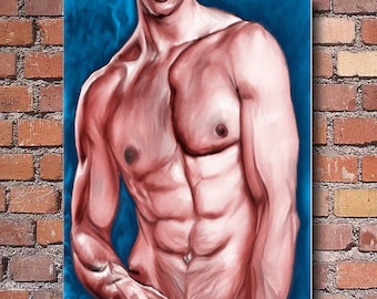 full torso, wall art, fitness gym, gay interest, male figure study
