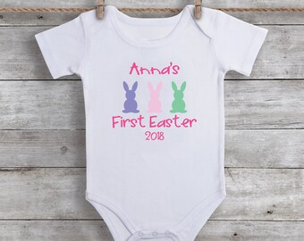 Baby Girls First Easter Outfit - First Easter Shirt - Personalized Easter Bunny Bodysuit - Baby Girl Clothing