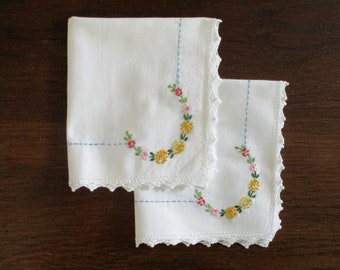 Two Vintage Hand Embroidered Floral Cotton Tea For Two Luncheon Napkins