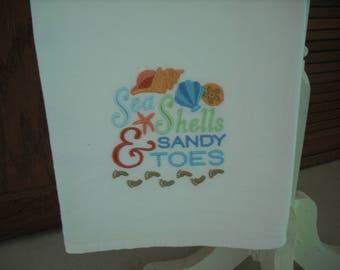Seashells and Sandy Toes Flour Sack Towel. Machine Embroidered.
