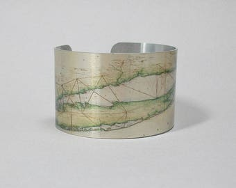 Long Island New York Map Cuff Bracelet Unique Travel Moving Gift for Men or Women
