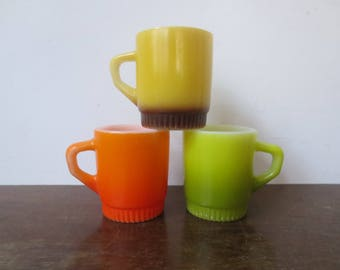 Vintage '60s Fire King Anchor Hocking Stacking Mugs in Orange, Avocado and Yellow/Brown, 3 Pc