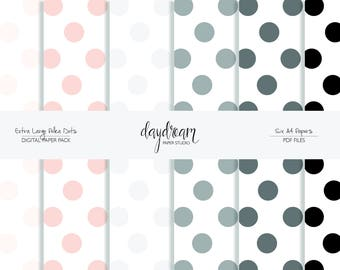 PDF Papercraft  Extra Large Polka Dot Paper   Digital Paper Pack   Printable   Papercraft   A4 Sheets   Black and White
