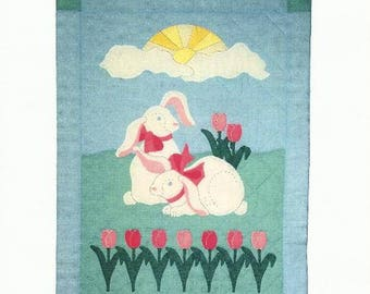"Spring Bunny Quilt Patterm BUNNY BUDDIES - 30"" x 40"" - Applique and Piecing - Wall Hanging Pattern - Pink Tulips - Spring Scene"