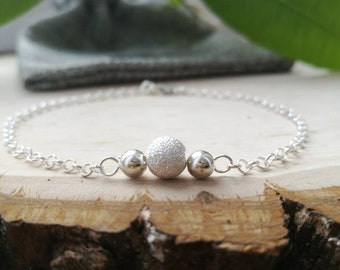 Sterling silver bracelet, dainty bead bracelet, dainty silver bracelet, women bracelet, women silver bracelets, bracelet for women,