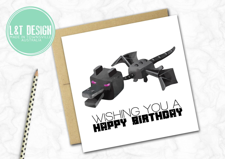 Minecraft Inspired Birthday Card Ender Dragon