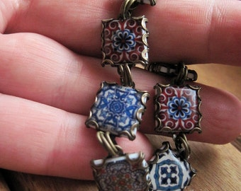 Ethnic jewelry, Tile Charm Bracelet, Gothic Travel Souvenir, Moroccan style jewelry, Portuguese, Spanish, old world brass, mto