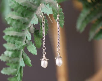 Long, Dangling Antiqued Silver Pearl Earrings, Freshwater Pearl Earrings, Dressy Jewelry, Formal Earrings