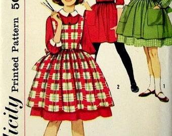 1950's Simplicity 3612 Girls Dress And Apron Pinafore Sewing Pattern, Size 7, UNCUT