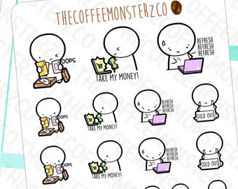 online shopping emotis - hand drawn emoti planner stickers E143