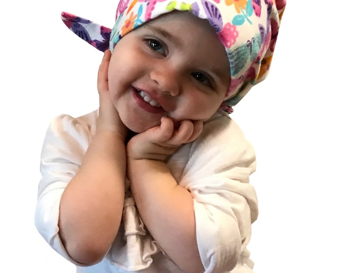 Featured listing image: Jaye Children's Flannel Head Scarf, Girl's Cancer Hat, Chemo Head Cover, Alopecia Hat, Head Wrap, Cancer Gift, Hair Loss Pastel Butterflies