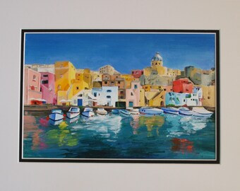 Procida Island - acrylic painting on canvas board