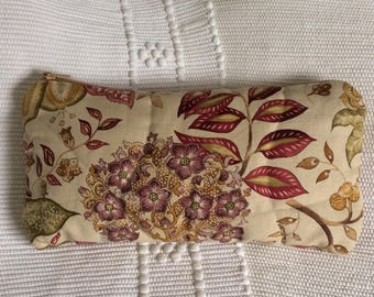 Large Quilted / Zipped Cosmetics Toiletry Bag with English Autumn Floral Sanderson Fabric