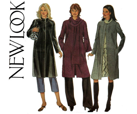 Easy Womens Winter Coat Jacket Scarf New Look 6020 Sewing Pattern