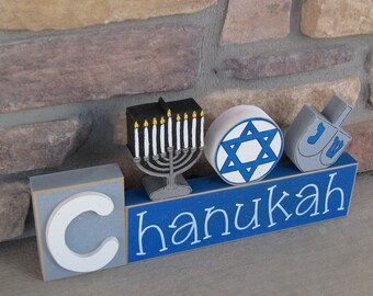 CHANUKAH BLOCKS with Menora, Jewish Star, and Driedall for desk, shelf, mantle, Hanukkah decorations, December, and home decor