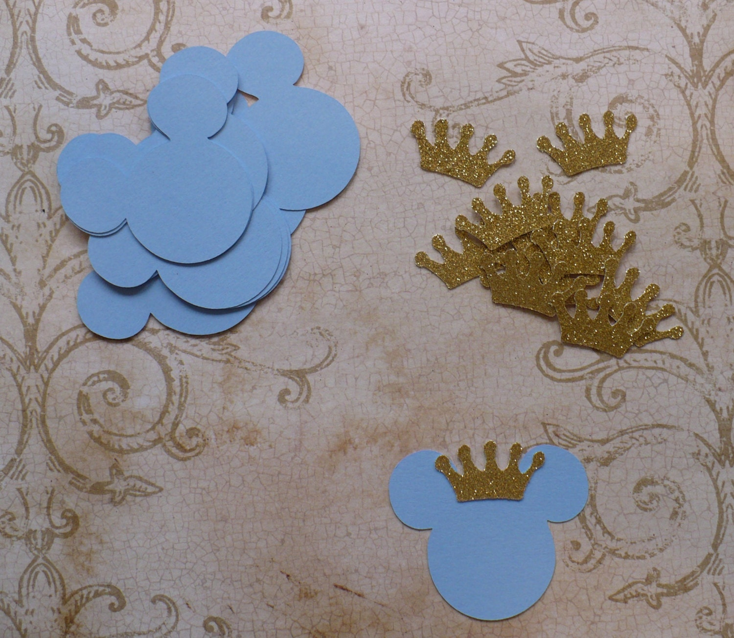 12 Baby Mickey Mouse Head Shapes Prince Gold Glitter Crowns