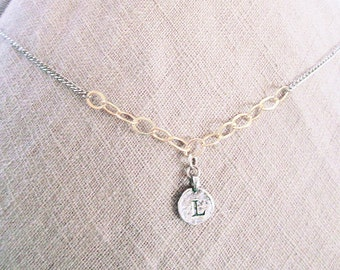 Personalized jewelry necklace, elegant L initial necklace, L letter rustic coin jewelry, mixed-metal gold filled silver necklaces for women