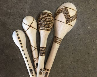 Burned wooden measuring spoons