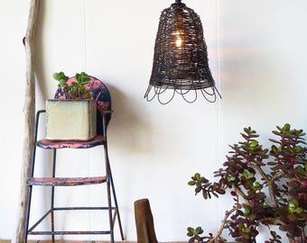 Anhänger-Lampe, Bauernhaus, Vintage-Stil, Handarbeit gewebt, Draht, Petaled Lampe