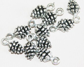 10 pcs of Antique Silver Pinecone charm 13x7mm, Antique silver Pine Cone drops, Antique silver Pinecone pendant