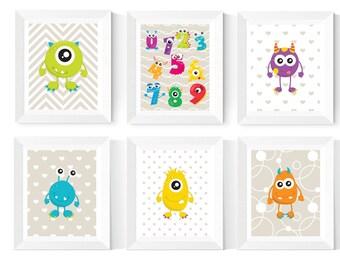 Cute Little Monsters Nursery Printables   6 Set   Monsters Printables   Numbers Printables   Nursery Printables   Children's Bedroom Art