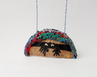 Peeking At You Fiber Pottery Necklace, Kilroy Was Here, , Red Brown Blue Green, Masked Marauder PF3