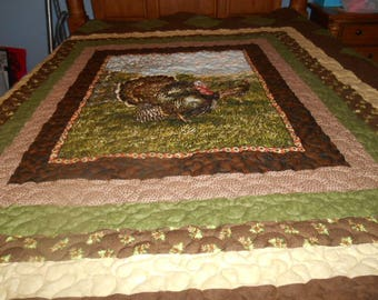 Beautiful Turkey quilt, queen size, great for hunters