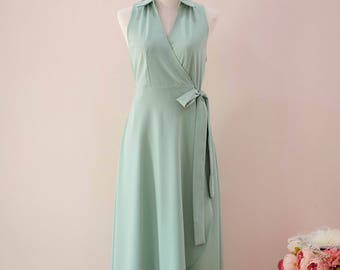 Summer dress Sage green dress bridesmaid dress green robe Trench dress shirt dress summer party dress tea dress mid calf dress