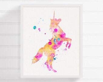 Unicorn Art Print - Watercolor Unicorn - Unicorn Painting - Nursery Art Print - Unicorn Poster - Unicorn Wall Art, Archival Print, Kids Room