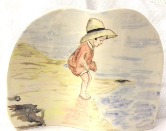 Little Girl Seaside Picture - Ceramic Picture - Pottery Picture - Seaside
