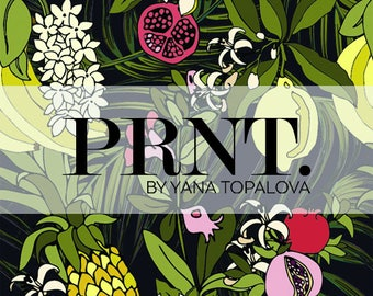 Digital, Fashion Print with Tropic Fruits and Flowers,Vector Seamless Pattern, Cool Colours and Nice Feeling for Textile and Paper Design