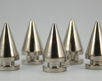 10 sets. Silver Tone Cone Spikes Screwback Studs Leathercraft Decorations Findings 10x19 mm. CO N 183 SCB 87