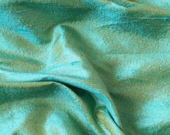 Sea Blue & Gold 100 Percent Pure Silk Dupioni Fabric By The Yard Decorative Silk Fabric Silk Fabric Wholesale Raw Silk Fabric Indian Silk